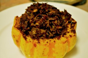 Stuffed squash - out of the oven