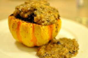 Stuffed squash - plated with mushroom sauce