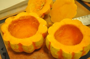 Squash - opened, seeded, and hollowed-out