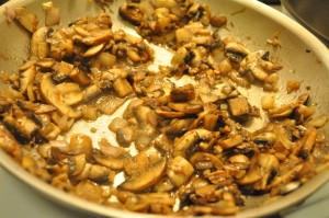 Sautéed mushrooms for the stuffing
