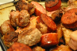 Browned meat - sausage