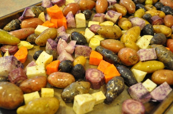 Roasted vegetables with lots of purple ones