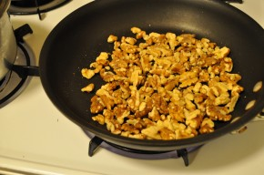 Toasting the walnuts