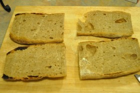 Bread cut and quartered