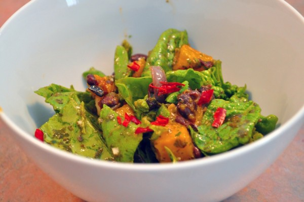 Squash and black bean salad