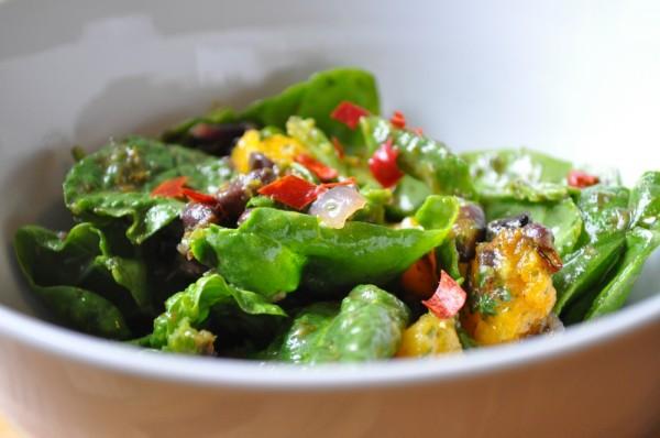 Roasted squash and black bean salad