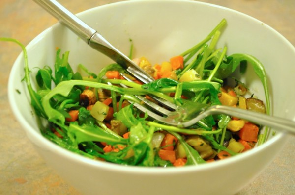 Roasted veggie and arugula salad (tossed)