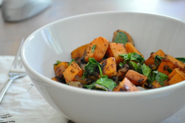 Spicy Sweet Potato Hash with Watercress