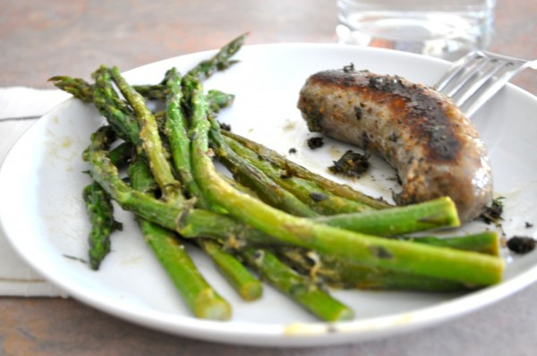 Braised asparagus with dijon and thyme (and sausage)