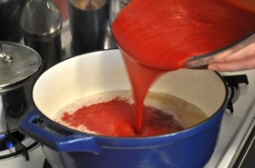 Combining the strawberry puree, lemon juice, and sugar
