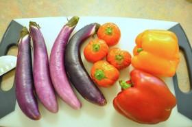 Eggplants, Turkish Eggplants, and Bell Peppers