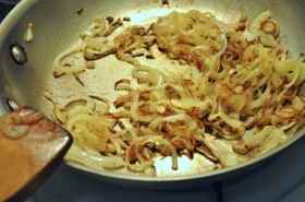 Caramelizing the onions