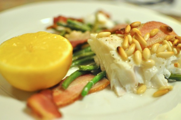 Roasted Cod with Haricot Vert, Lemon, and Bacon