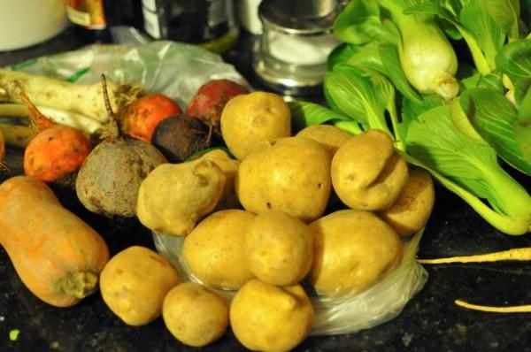 Squash, leeks, beets, potatoes, and bok choy