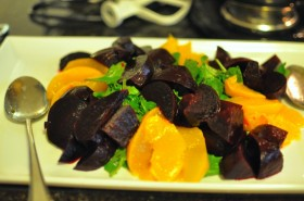 Arugula, peach, and beet salad