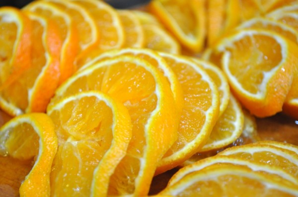 Thinly sliced clementines