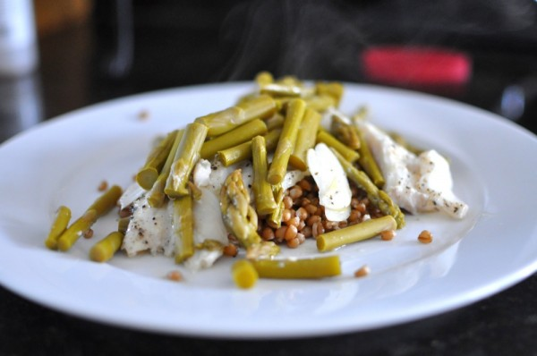 Baked cod, pickled asparagus, and wheatberries