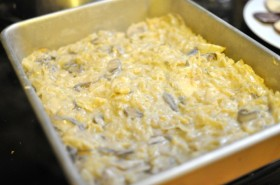 Layer 3 (and 6):  mushroom béchamel sauce