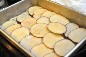 Layer 2 (and 5):  sliced potatoes