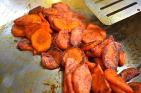 The carrots, nice and browned