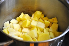 Diced potatoes in the pot