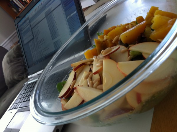 Enormous salad with apples and roasted beets