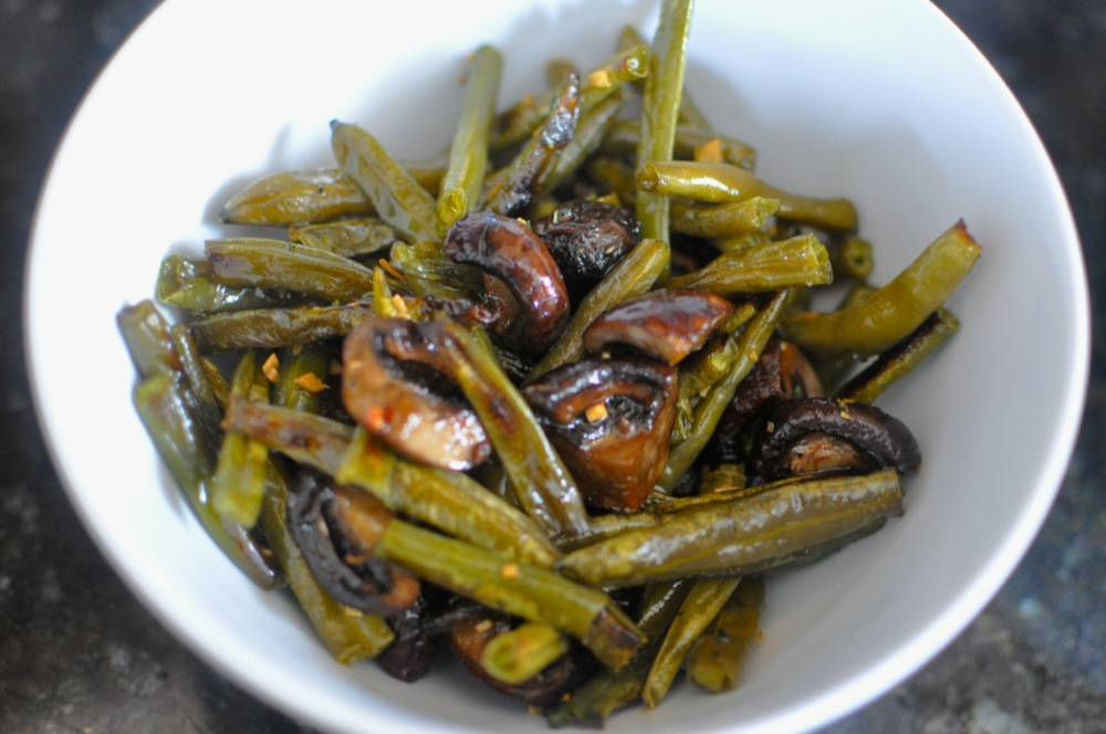 ... to Make Roasted Green Beans and Mushrooms with Rosemary and Garlic Oil