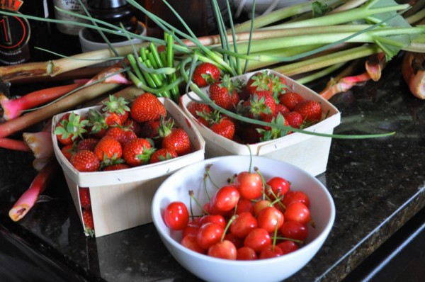 Cherries, strawberries, garlic scapes, and rhubarb