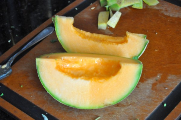 Slicing up the cantaloupe