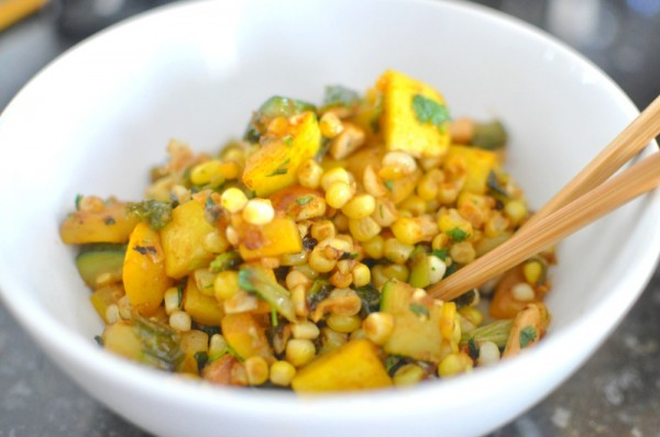 Corn and Zucchini Stir-Fry with Cashews