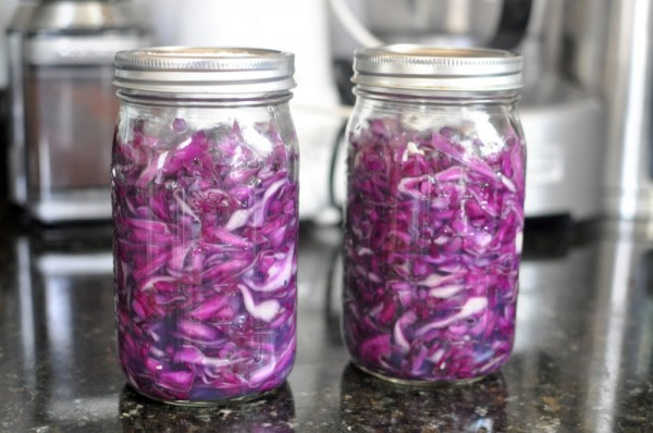 Salted cabbage packed in jars