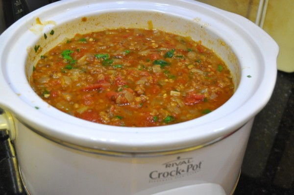 Lentil soup in the slow cooker