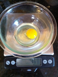 Weighing the egg