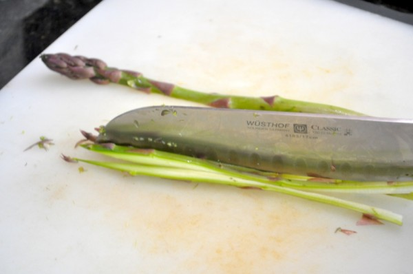 Slicing the asparagus