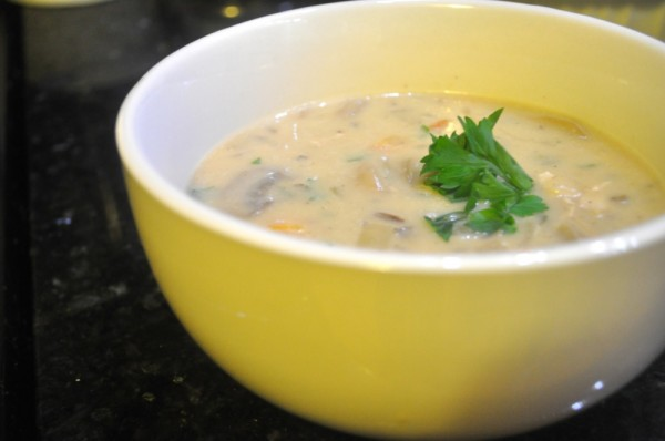 The final product - super tasty wild rice soup
